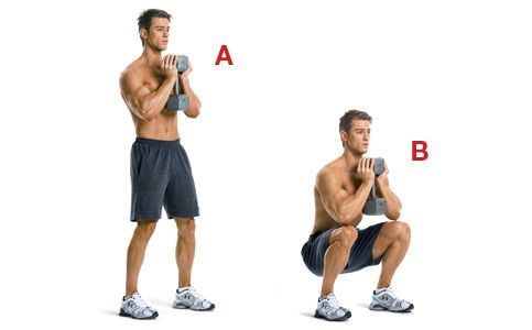 The Spartacus Workout: Station #1 - Goblet SquatStation 1  Goblet squat With both hands, grab one end of a dumbbell to hold it vertically in front of your chest, and stand with your feet slightly beyond shoulder width [A]. Keeping your back naturally arched, push your hips back, bend your knees, and lower your body until the tops of your thighs are at least parallel to the floor [B]. Pause, and push yourself up to the starting position. If that's too hard, do a body-weight squat instead.