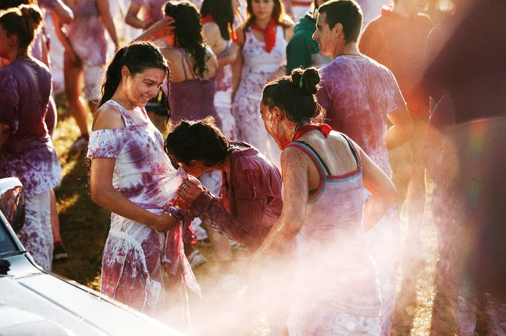 Every year on June 29, legions of locals and exuberant tourists congregate in northern Spain's wine-soaked region Haro and paint the town purple for the La Batalla del Vino festival,  Celebrating el Día de San Pedro [the Day of St. Peter]. Photographed by Catalan photographer Coke Bartrina. On NOWNESS.