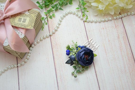 Navy blue flower comb Wedding hair accessory Flower headpiece