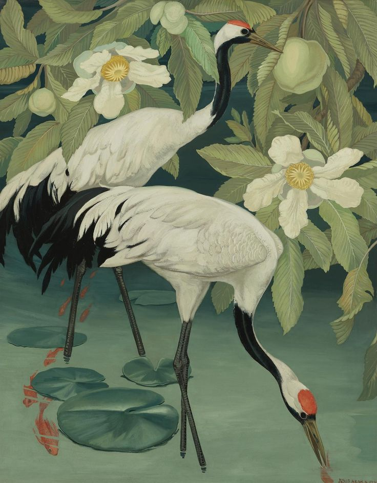 Jessie Arms Botke (American, 1883-1971).  Sacred cranes in a tropical river. Oil on board, 101,6 x 82,6cm.