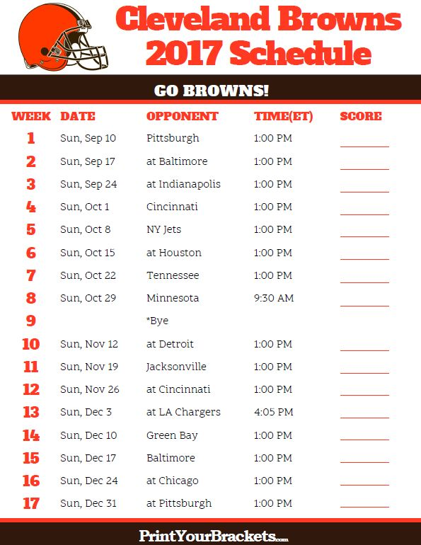 2017 Cleveland Browns Football Schedule