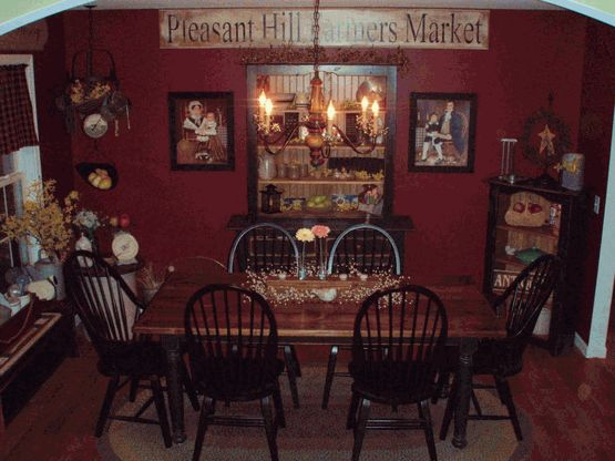 Red prim dining room primitives passion pinterest for Red dining room