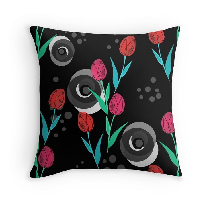 Abstract floral pattern tulips. Black background .