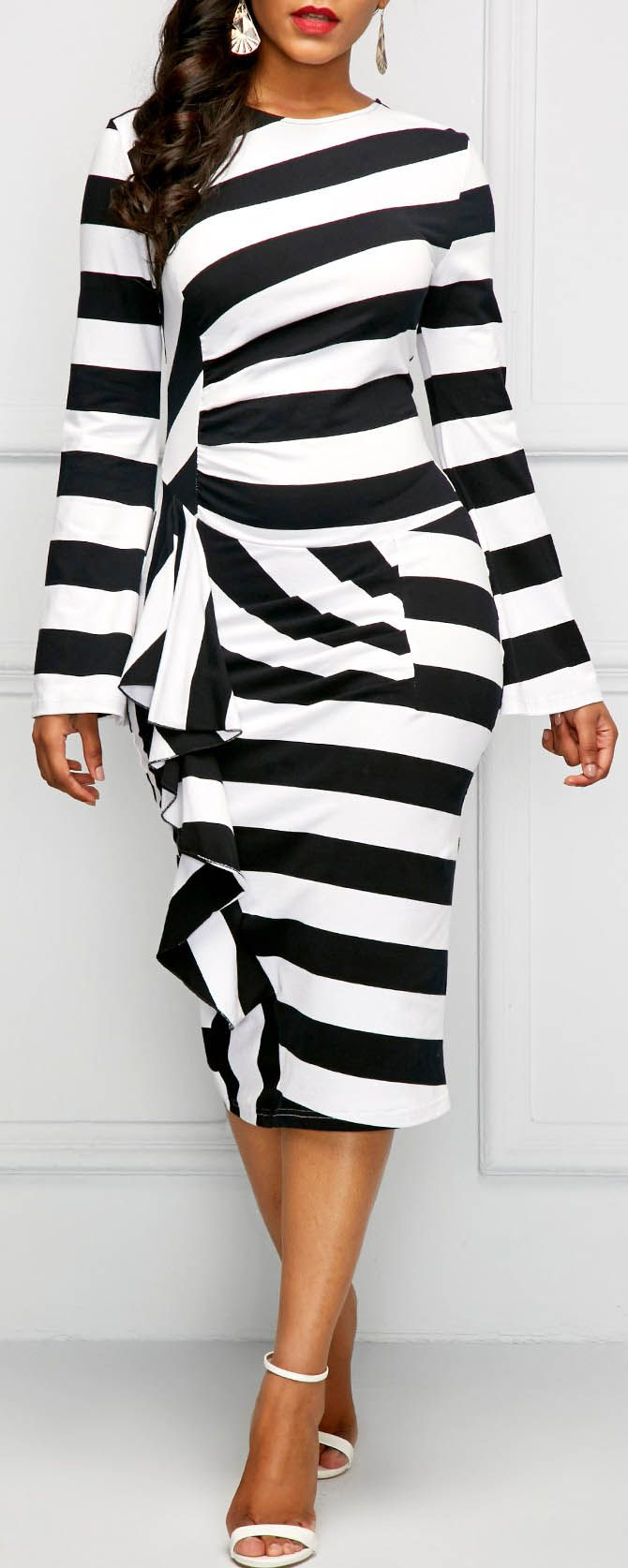 Back Slit Long Sleeve Striped Ruffle Dress.