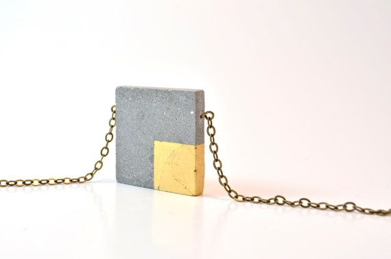 Square Concrete Necklace with gold square leafing, Architectural Necklace / Industrial Necklace/ Concrete Jewelry