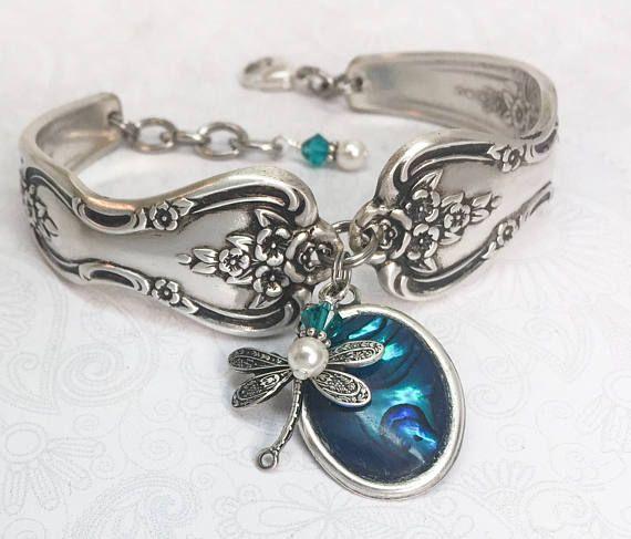 Lepel armband Dragonfly blauwe Paua Shell zilverwerk