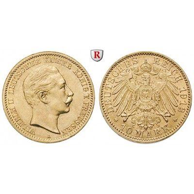Deutsches Kaiserreich, Preussen, Wilhelm II., 10 Mark 1912, A, vz/vz-st, J. 251: Wilhelm II. 1888-1918. 10 Mark 1912 A. J. 251;… #coins
