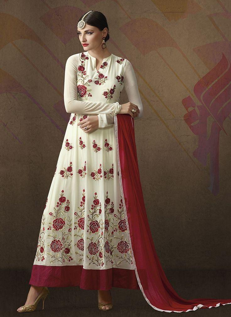 White Georgette Embroidered Un-Stitched Anarkali
