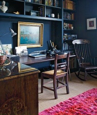 dark blue walls, classic wooden furniture, built in bookshelves, art Small Place Style: Rich Colors !!!