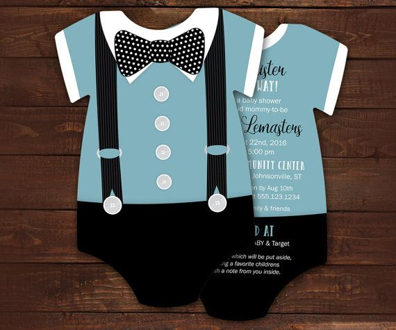 10 Bowtie Baby Shower Invitations, Blue Suspenders invitation -- Onesie Die Cut shaped -- Double sided in any color