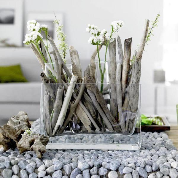 Lovely jar: White Flower, Decor Ideas, Crafts Ideas, Driftwood Crafts, Natural Materials, Flower Display, Driftwood Ideas, Drift Woods, Tables Decor