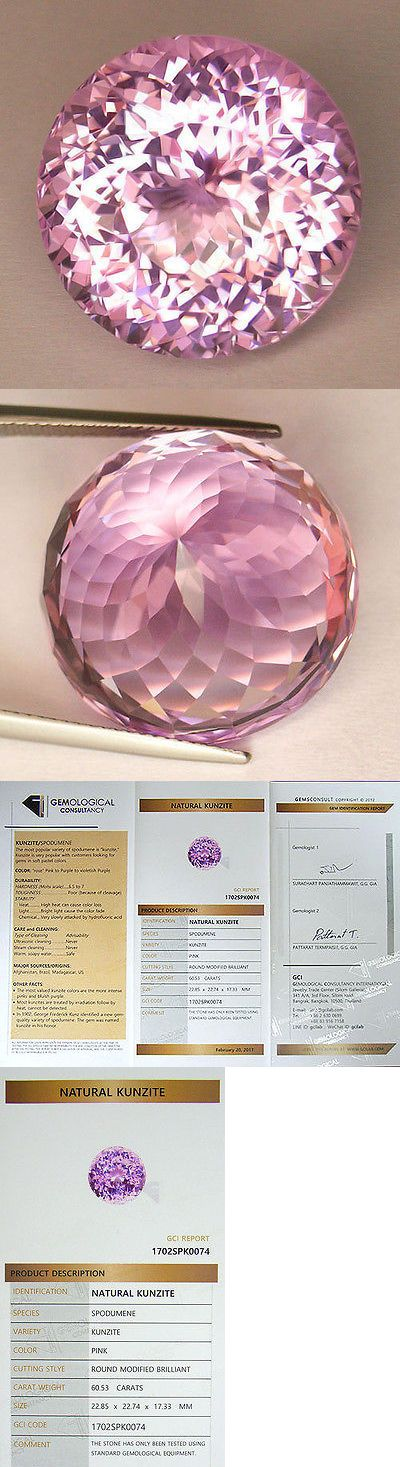 Kunzite 110798: 60.53Ct **Certified Natural** Precision Portuguese Round Cut World Class Kunzite BUY IT NOW ONLY: $1480.0