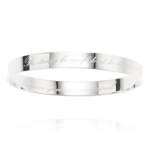 Be Strong Bangle in Silver by Samantha Wills