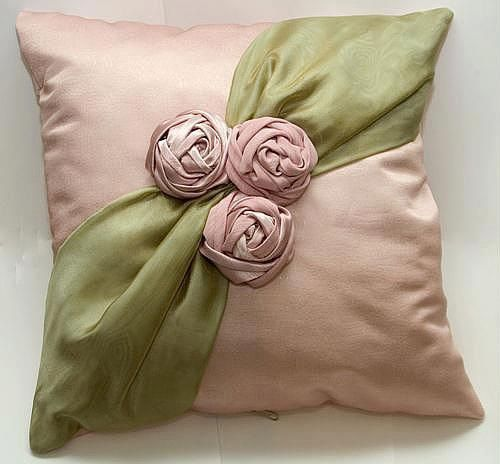 Pillow, ribbon embroidery