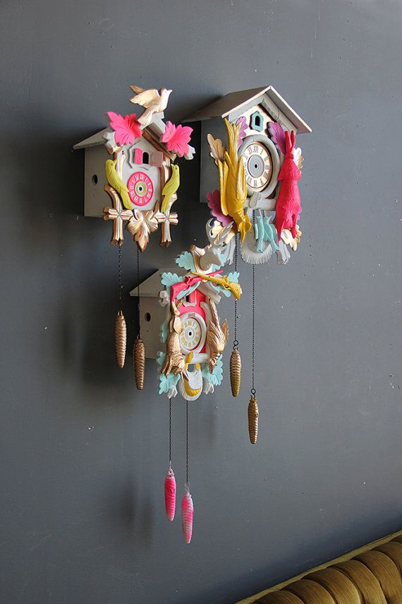 Neon Pink Green & Gold Cuckoo Clock. Working by GallivantingGirls, $199.00