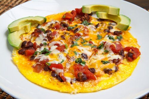 BLACK BEAN CHILI OMELETTE = Ingredients 2 eggs, lightly beaten 1/4 cup black bean chili, warm 1 handful cheddar cheese, room temperature, grated 1 handful jack cheese, room temperature, grated 1 teaspoon cilantro, chopped====