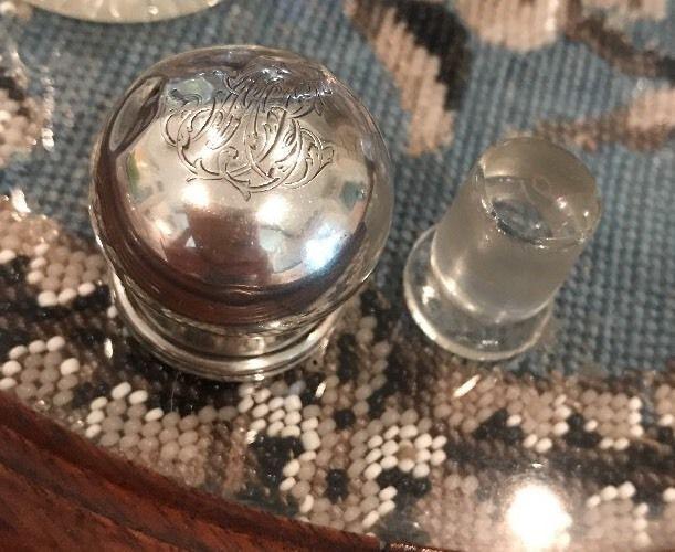 Vintage Vanity Dresser Bottle Sterling Silver Monogram Sormani Perfume Crystal