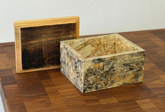 Hand Made Small Box Reclaimed Wood Osb Unique Box Products