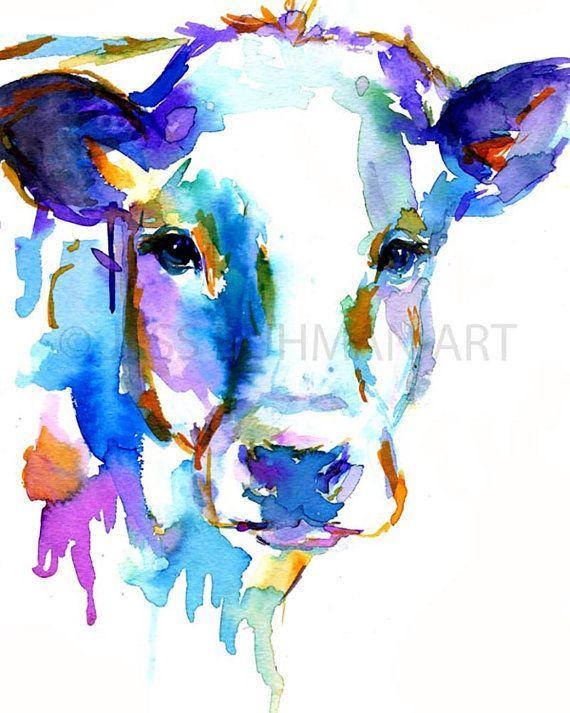 Aquarellbilder Grafik tierischen Aquarell Kuh Kuh von JessBuhmanArt