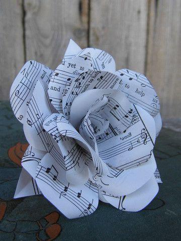 Handmade Single Sheet Music Paper Flower Rose www.wearedcrafts.co.uk