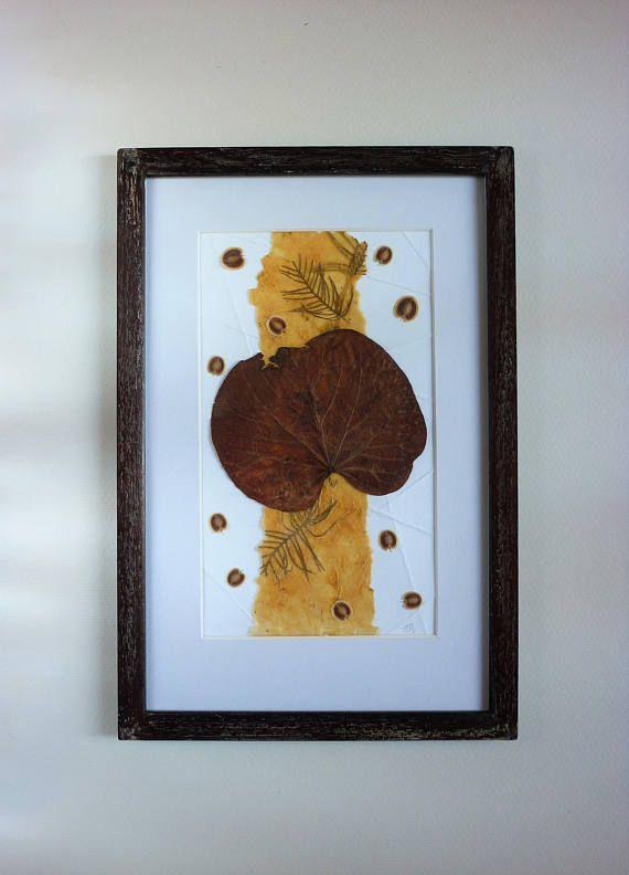 Original herbarium wall art framed botanic collage   real