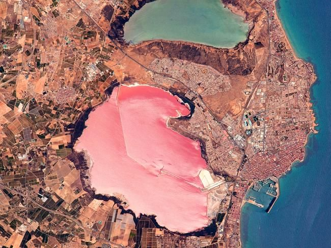 An unexpected pink lake in Spain. Laguna Salada de Torrevieja, Costa Blanca, Spain