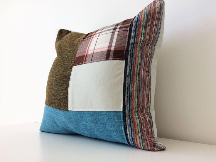 Modern Patchwork Pillow Cover, 18x18, Contemporary Cushion Cover, Multicolor, Green, Blue, Pattern Block, Color Block, Stripes, Texture by BlackcatmeowDesigns on Etsy