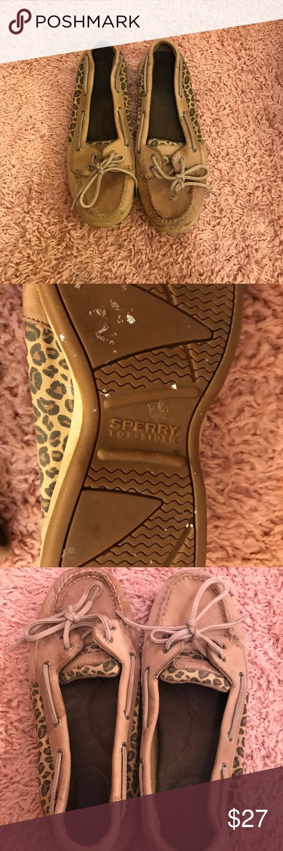 Leopard sperrys Sperrys! These shoes are worn but still have a lot of life left in them. The souls are in great condition. The pictures don't do them justice. These shoes are very sturdy. Sperry Top-Sider Shoes Flats & Loafers