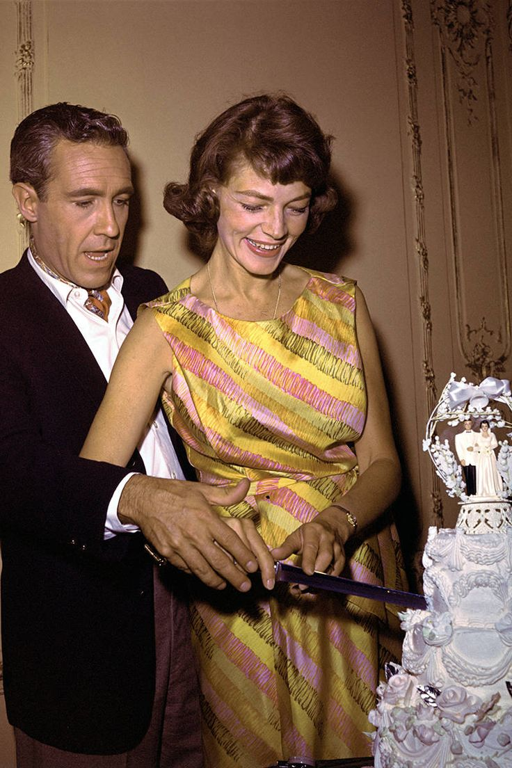 Lauren Bacall's Best Fashion Looks Through the Years - Style Photos of Lauren Bacall - Elle........Jason Robards Jr. and Lauren Bacall shown cutting the cake after wedding
