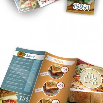 This high quality professional brochure Used for restaurants and food related businesses. WHAT DO YOU GET ? – Restaurant brochure (DIN Long Size, trifold) – Help File – Preview It is very easy to add your own images. READY FOR PRINTING ! All the files are print ready. 300 DPI , CMYK with margins.    Photoshop PSD Finishing & Printed Lots Pricing Upon Request