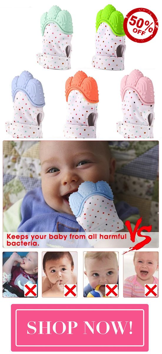 The Baby Teething Mitten is the best solution to ease pain for all teething babies. It Fits comfortably over baby's hand, allowing them to self-soothe painful and irritated gums.  .Prevents blisters from thumb sucking  .Breathable & absorbs drools   .Bump design specially to self-soothe gums  .Adjustable Velcro Strap  Easy to clean & machine washable