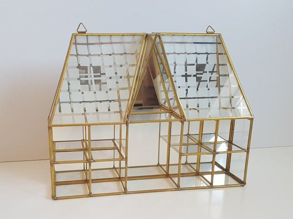 Vintage Brass Mirror and Glass Display Case Glass by RetroEnvy21