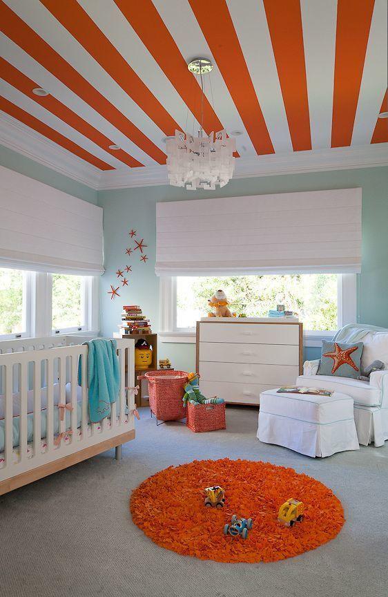 Poppy (Orange) white and blue nursery.