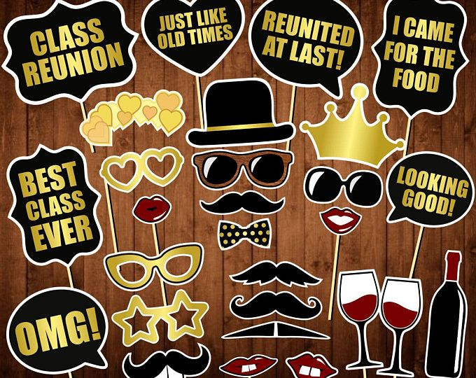 10 Photo Props /& Dowels Funny Class Reunion School Themed Prop Kit Photo Booth Props High School Reunion Photo Booth Props Kit