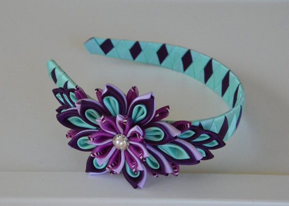 Plum/aqua girl headband - girl headband - kanzashi headband - Kanzashi flower headband - bow headband - hair accessories - women headband. MagaroCreations