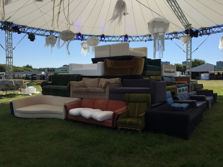 NorthSide 2015, Aarhus, Denmark - pyramid seating lounge installation made of old sofas