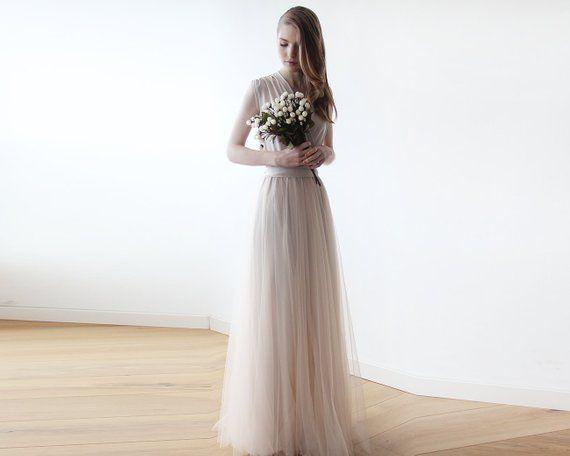 Sleeveless bridal gown maxi tulle, bridesmaids maxi tulle, bridesmaids We