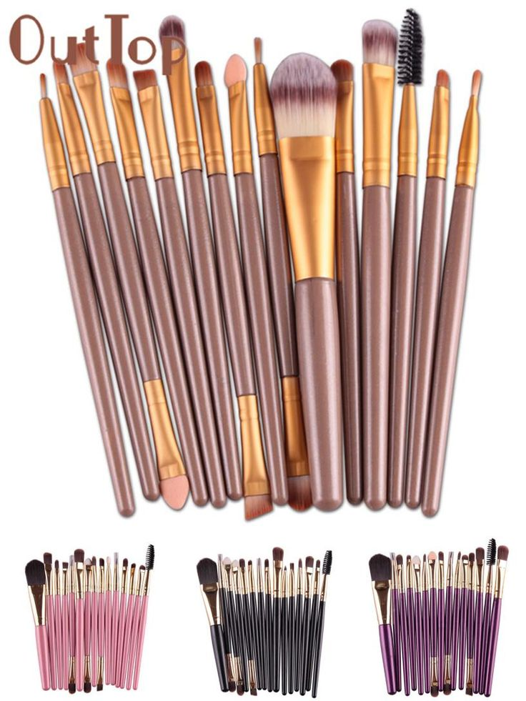 [Visit to Buy] Best Deal New Good Quality Professional 15 pcs/Sets Eye Shadow Brush Foundation Eyebrow Lip Brush Makeup Brushes Comestic Tool #Advertisement