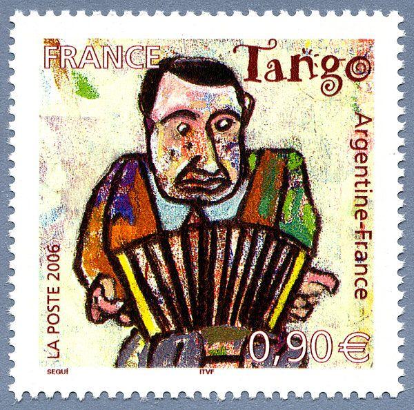 Zoom sur le timbre «Le joueur de bandonéon Emission commune France-Argentine - le Tango»