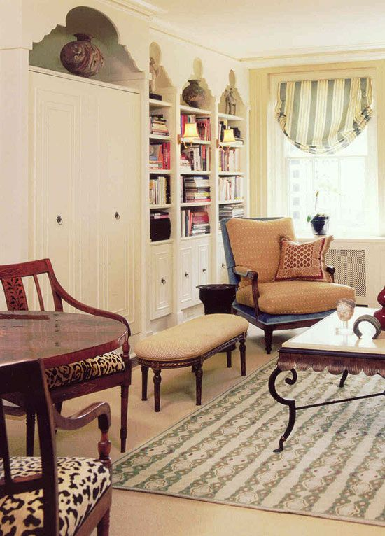 Design of header on bookcases. Tom Stringer | Traditional Home