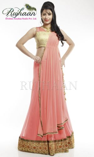 Neon peach lehenga with gotta pati Resham emberoidered Brocade blouse with swaroski with attached draped dupatta and small motifs.              http://drishteeanushaa.com/lehengas-page-3.php