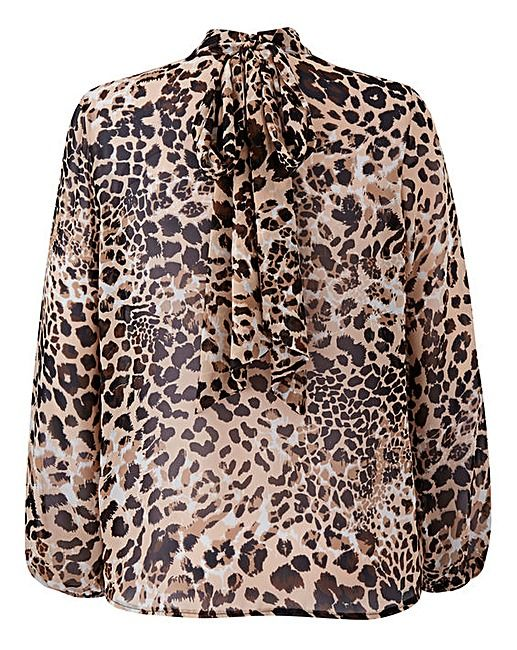 Simply Be Leopard Pussybow Blouse | J D Williams