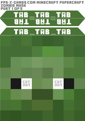 Free DIY Minecraft Zombie Mask Head printable. 1- Open the link. 2- Click on the template. 3- Once it is open, Left click the pic to make it larger. 4- Click print, & change the paper to landscape. 5- Changing it to Landscape makes the mask bigger & gave me two pieces per template. 6- Cut them out. 7- At this point, I did not put them together the same way as he suggested. I ended up not using the tabs and just used a glue stick and glued them to a box! Used a 10x10x10 box and it fit…