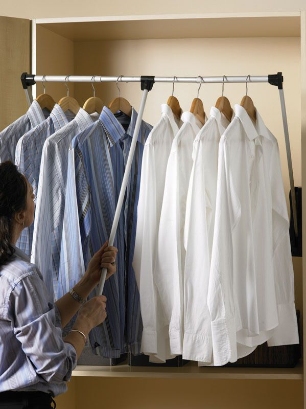 LIFT PULL DOWN WARDROBE RAIL CLOTHES HANGER ADJUSTABLE SOFT RETURN