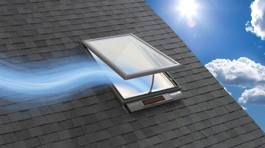 Solar powered fresh air skylight can be opened and closed for Skylight with remote control