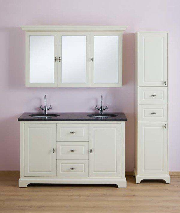 wastafelkast afm. 1380 x 553 x 850 mm 2 deuren + 3 schuiven retro handgreep soft close M = MDF - B = BLUM wastafel + 2 geïnt lavabo's uit keramiek ...