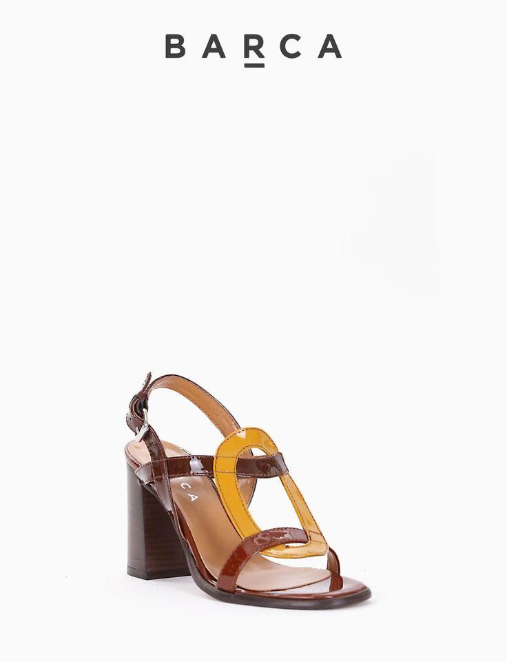 #Sandalo #tacco 80, fondo gomma e soletto in vera pelle, tomaia in vernice con punta squadrata, tomaia costruzione tondo a contrasto colore #ocra.  COMPOSIZIONE FONDO GOMMA, SOLETTO VERA PELLE  CARATTERISTICHE Altezza tacco 8 cm  COLORE #CUOIO  MATERIALE #VERNICE  #heels #sandali #tacchi #springsummer #outfit #shoes #fashionblogger #fashionblog