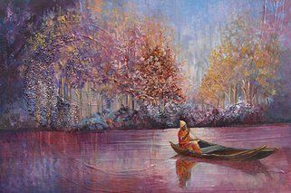 """Man on the lake"" original oil painting by artist Vanessa Penman - www.penman.co.nz"