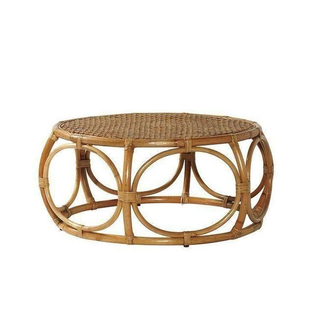 Image Of Serena Lily Elsa Round Rattan Coffee Table