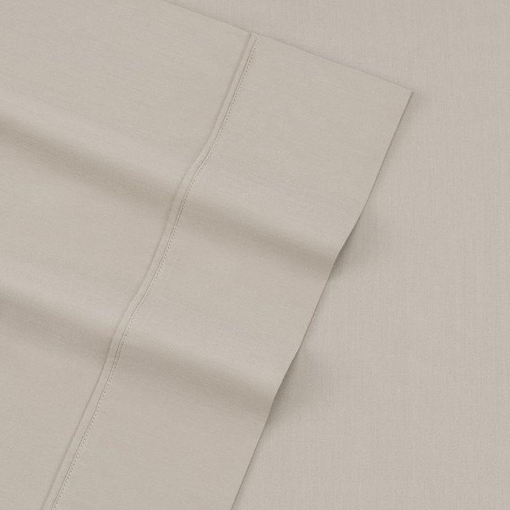 Sateen 300 Thread Count Sheet Set, Beig/Green (Beig/Khaki)
